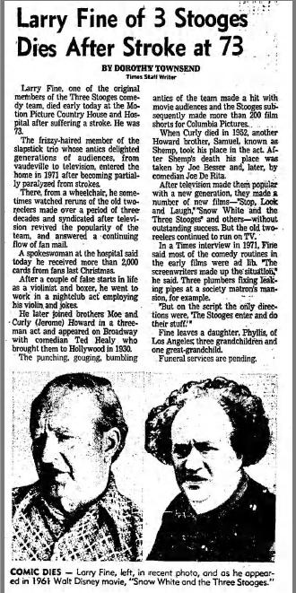 LA Times Larry Fine Death Notice